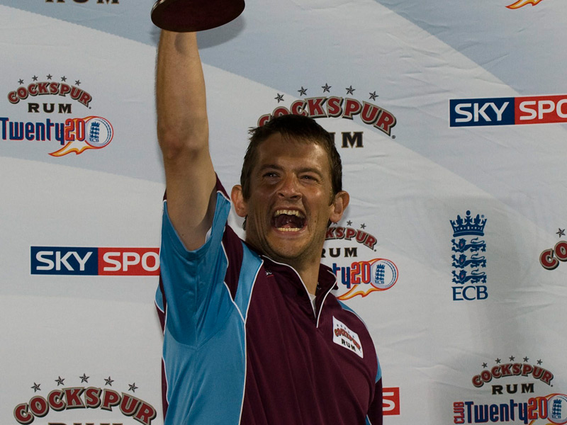 Mark Thomas raising Cockspur Twenty20 trophy
