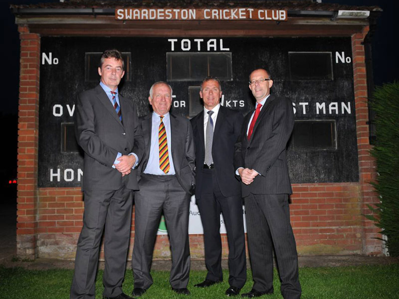 Swardeston chairman Mark Taylor, Clive Radley, Alec Stewart and Richard Larner (Brewin Dolphin - sponsors)