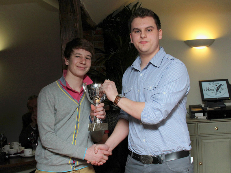 Alex Levinson receives Swardeston CEYMS XI player of the year from captain Tom Snelling