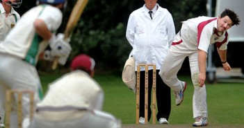 Jono Sole bowling against Great Witchingham
