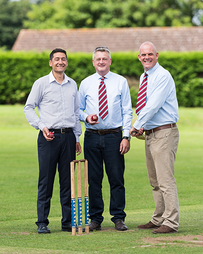Breakwater IT Managing Director John Gostling, left, with Swardeston's Sponsorship Secretary Stuart Bartram, centre, and Dinner Organiser David Thomas, right.