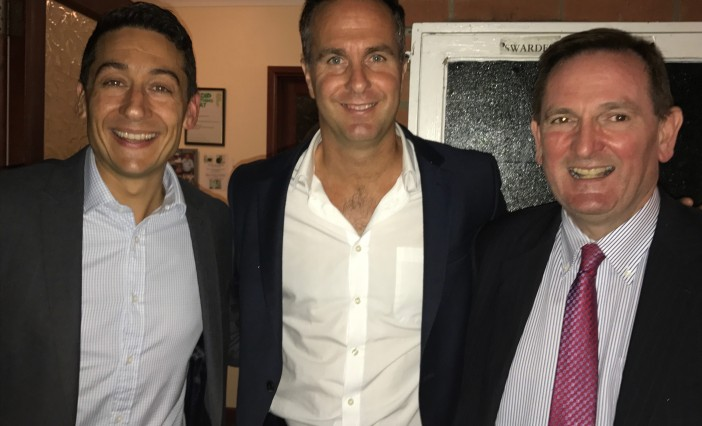 Speaker Michael Vaughan pictured with Breakwater IT managing Director John Gostling (left) and Breakwater IT chairman Peter Davies.