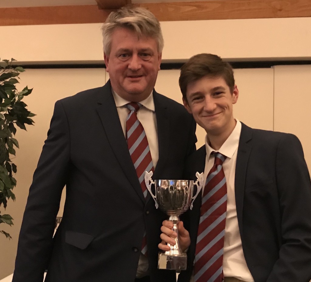 Stuart Bartram presents Ben Chapman with the CEYMS Trophy for the Swardeston CEYMS player of the year.