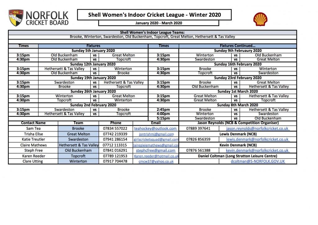 Womens Indoor League Fixtures 2020